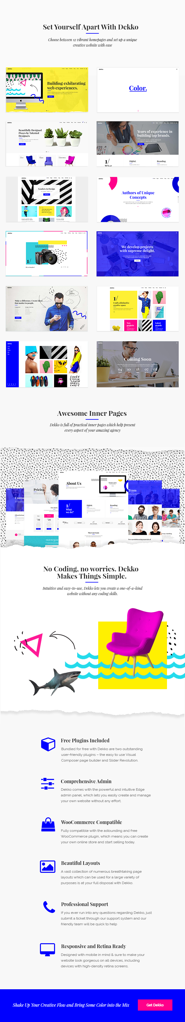 WordPress theme Dekko - A Vibrant Theme for Agencies and Freelancers (Portfolio)